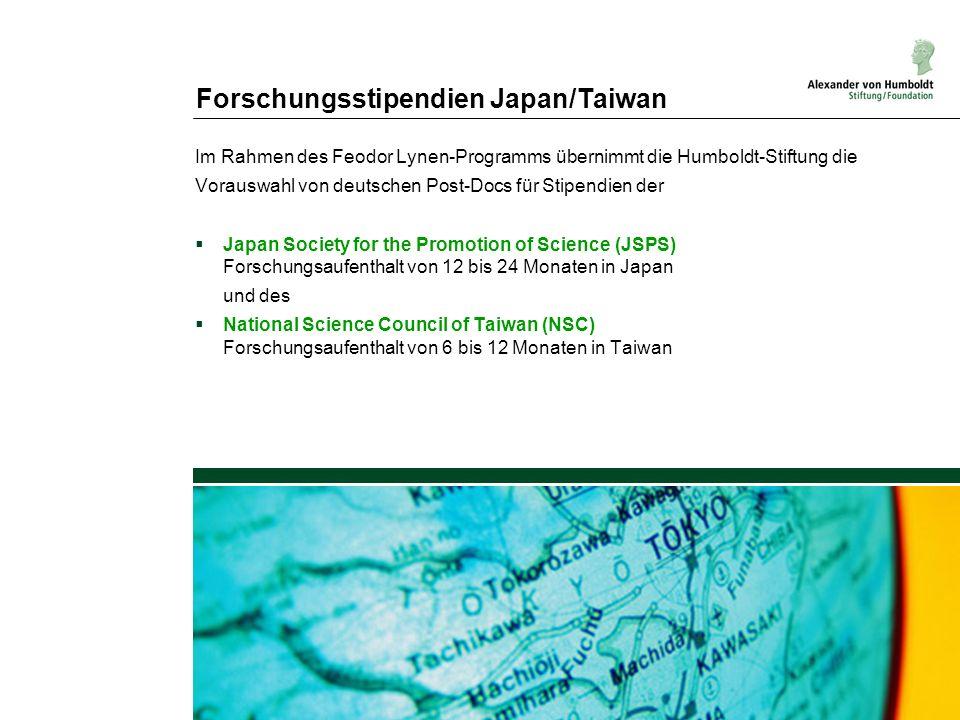 Forschungsstipendien Japan/Taiwan