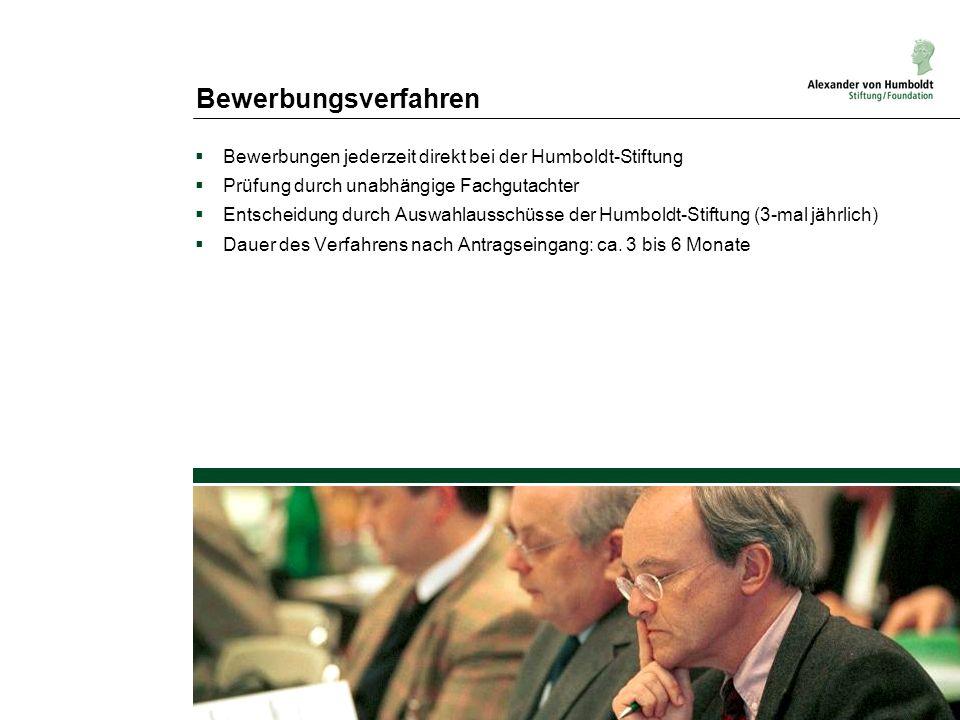BewerbungsverfahrenBewerbungen jederzeit direkt bei der Humboldt-Stiftung. Prüfung durch unabhängige Fachgutachter.