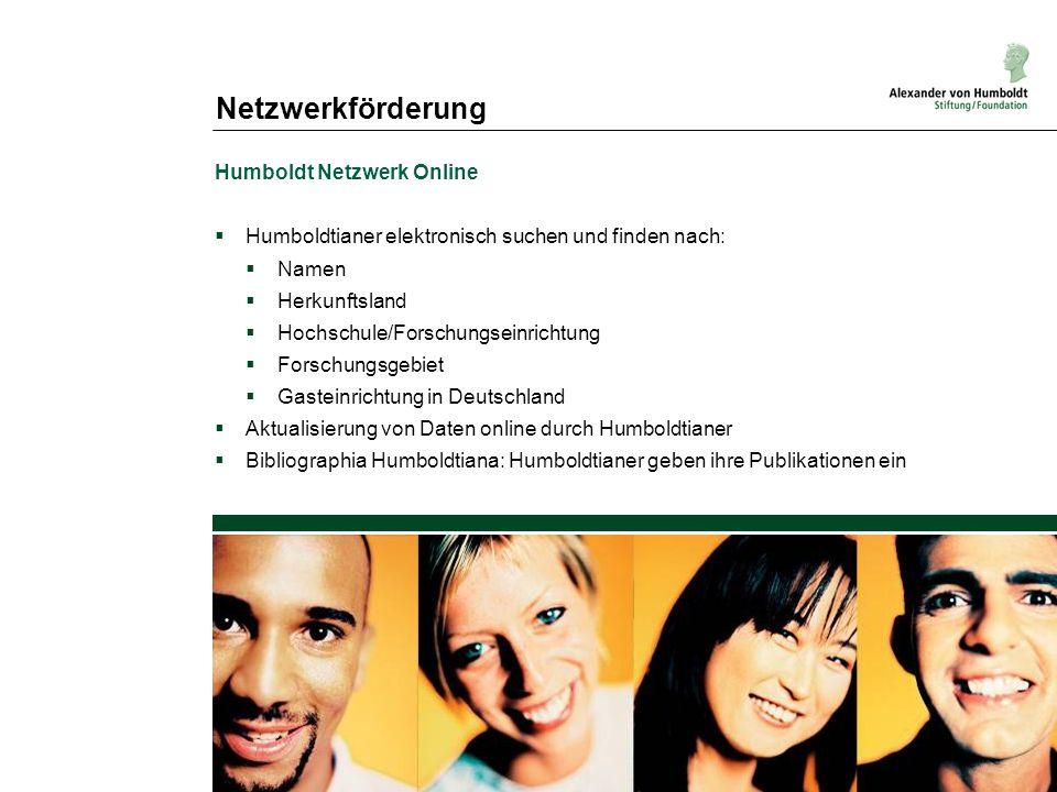 Netzwerkförderung Humboldt Netzwerk Online