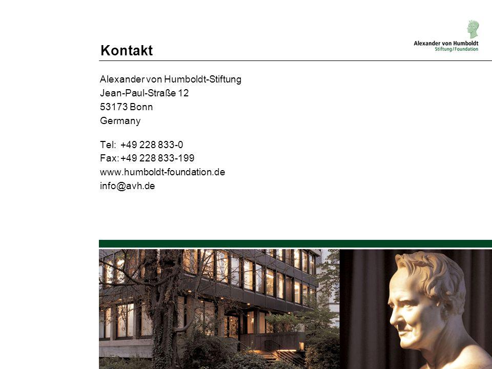 Kontakt Alexander von Humboldt-Stiftung Jean-Paul-Straße 12 53173 Bonn