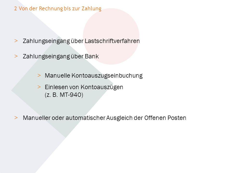 Zahlungseingang über Lastschriftverfahren Zahlungseingang über Bank