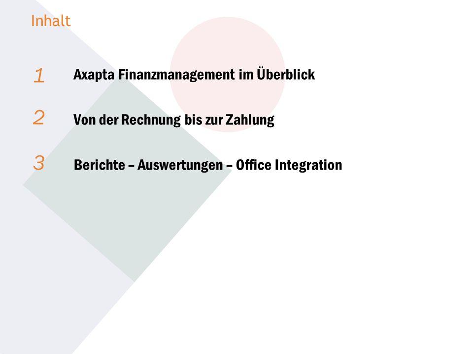 1 2 3 Inhalt Axapta Finanzmanagement im Überblick