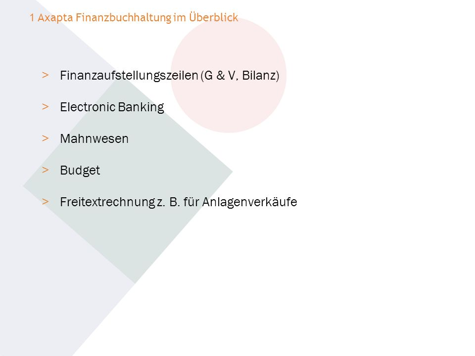 Finanzaufstellungszeilen (G & V, Bilanz) Electronic Banking Mahnwesen