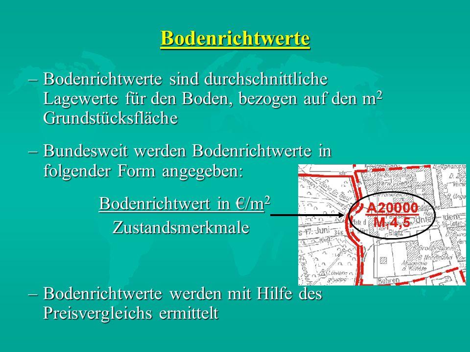 Bodenrichtwerte Bodenrichtwerte sind durchschnittliche Lagewerte für den Boden, bezogen auf den m2 Grundstücksfläche.