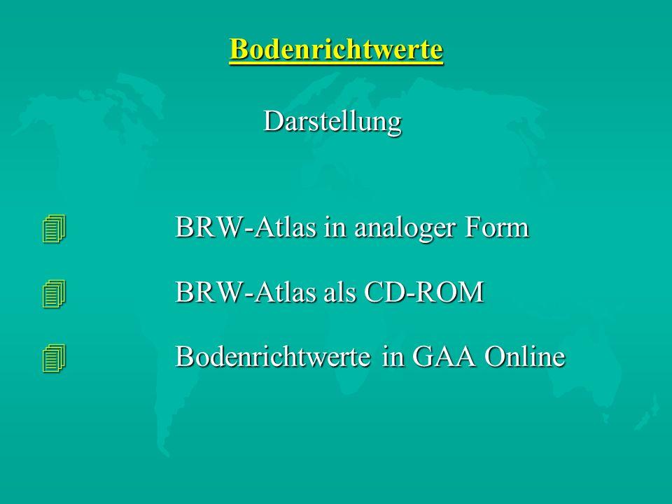 Bodenrichtwerte Darstellung. BRW-Atlas in analoger Form.