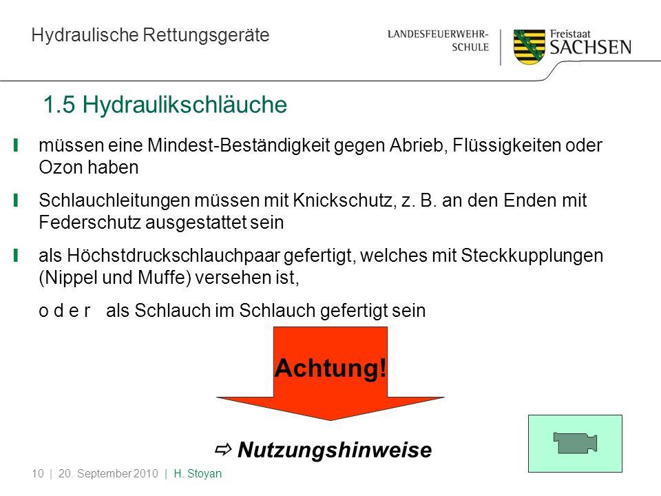Achtung! 1.5 Hydraulikschläuche