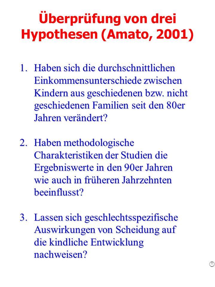 Überprüfung von drei Hypothesen (Amato, 2001)