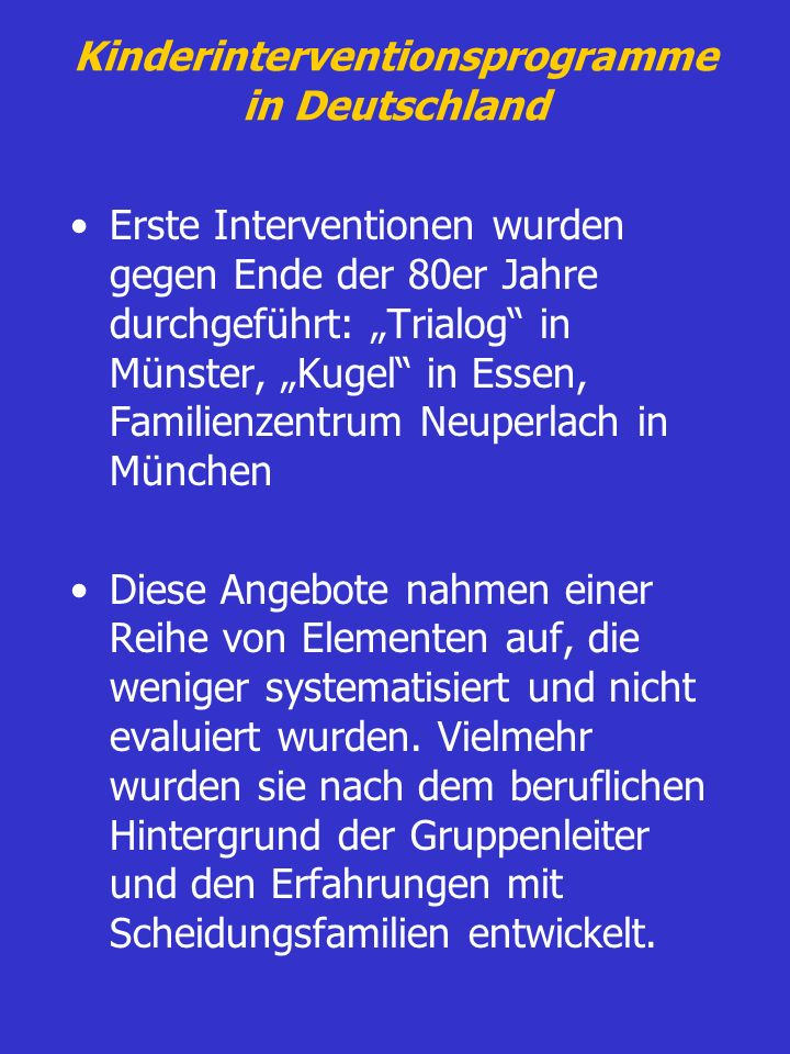 Kinderinterventionsprogramme in Deutschland