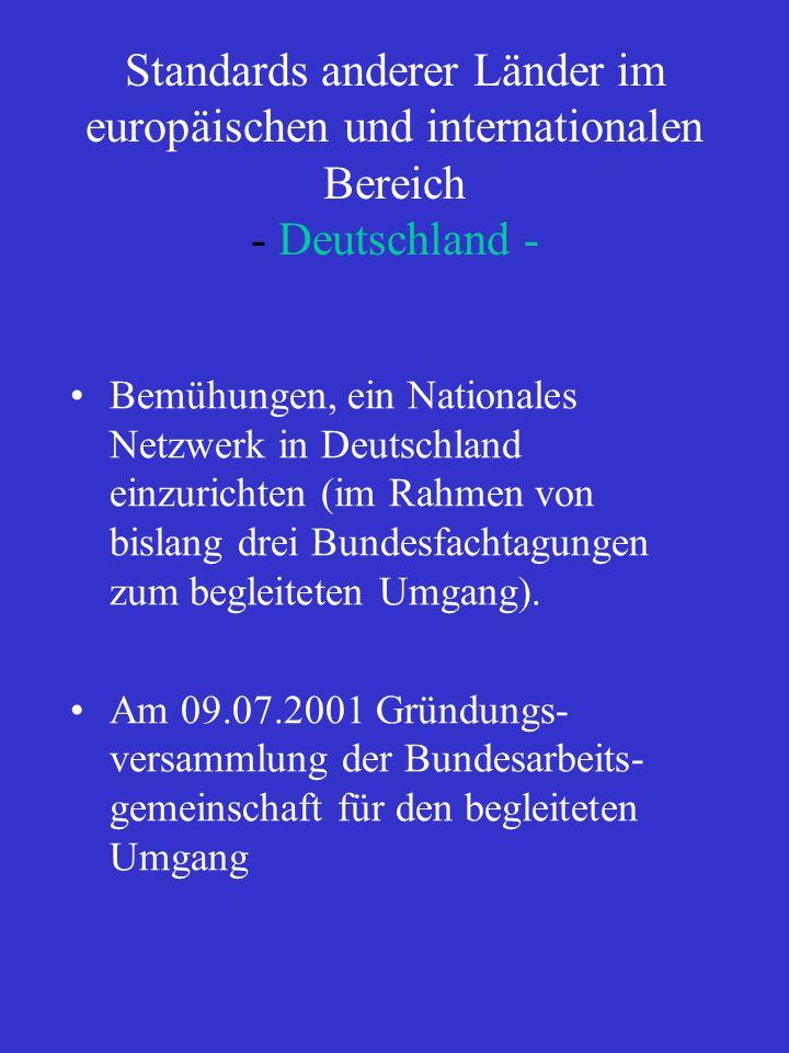 Standards anderer Länder im europäischen und internationalen Bereich - Deutschland -