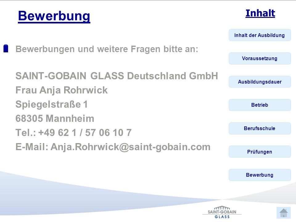 Bewerbung SAINT-GOBAIN GLASS Deutschland GmbH Frau Anja Rohrwick