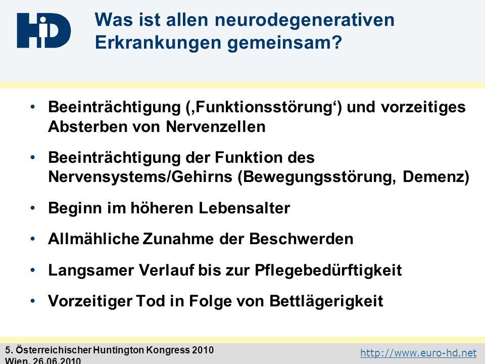 Was ist allen neurodegenerativen Erkrankungen gemeinsam