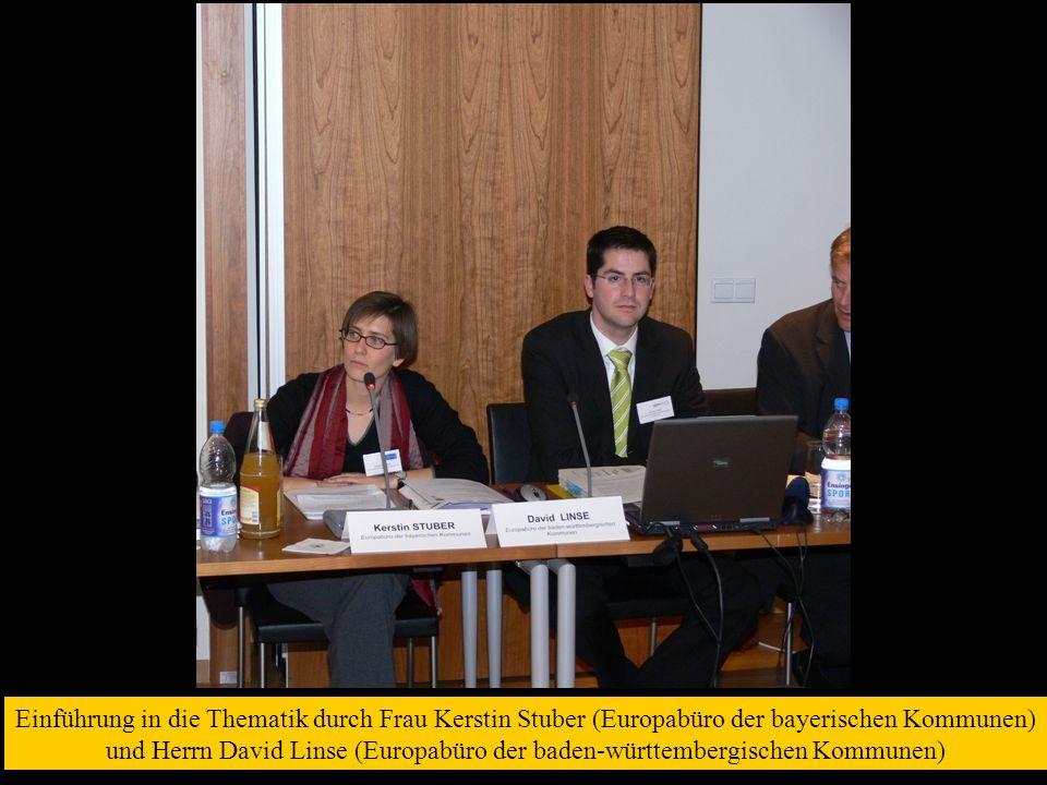 Einführung in die Thematik durch Frau Kerstin Stuber (Europabüro der bayerischen Kommunen) und Herrn David Linse (Europabüro der baden-württembergischen Kommunen)