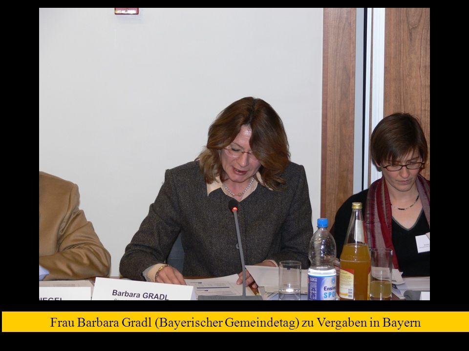 Frau Barbara Gradl (Bayerischer Gemeindetag) zu Vergaben in Bayern