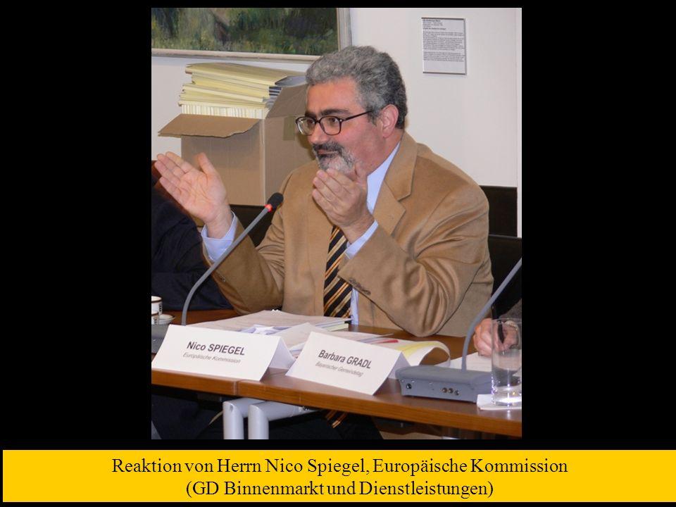 Reaktion von Herrn Nico Spiegel, Europäische Kommission