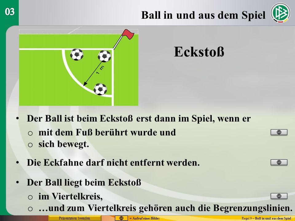 Eckstoß Ball in und aus dem Spiel 03