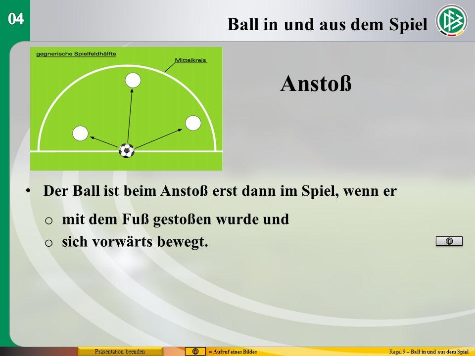 Anstoß Ball in und aus dem Spiel 04