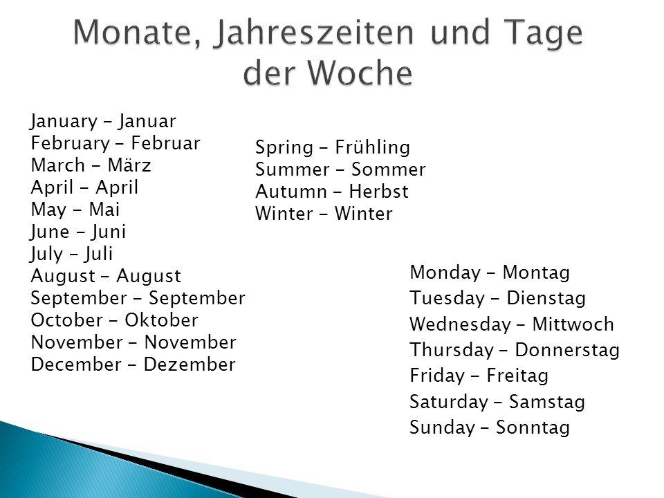 Monate, Jahreszeiten und Tage der Woche