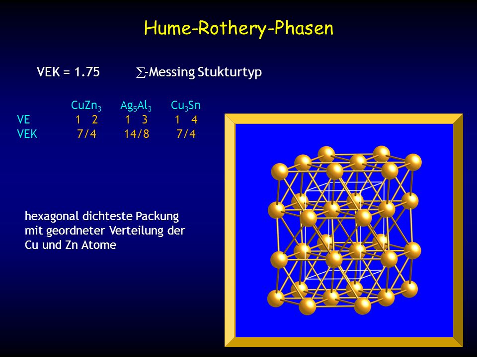 Hume-Rothery-Phasen VEK = 1.75 ε-Messing Stukturtyp CuZn3 Ag5Al3 Cu3Sn