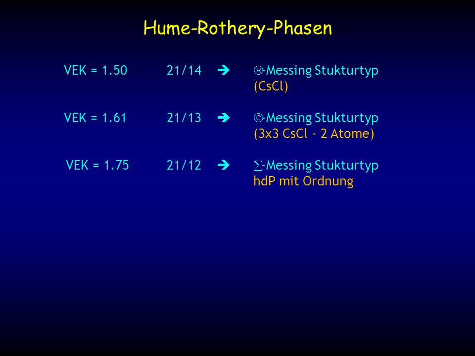 Hume-Rothery-Phasen VEK = 1.50 21/14  β-Messing Stukturtyp (CsCl)