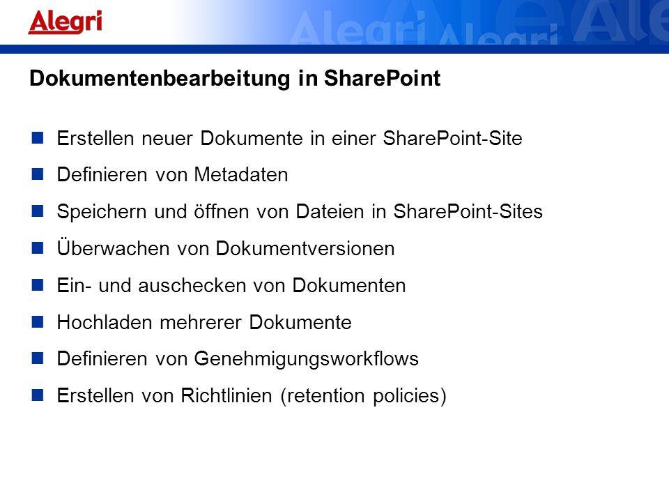Dokumentenbearbeitung in SharePoint