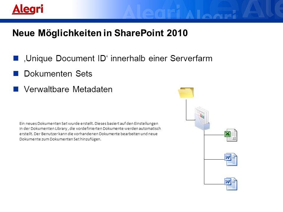 Neue Möglichkeiten in SharePoint 2010
