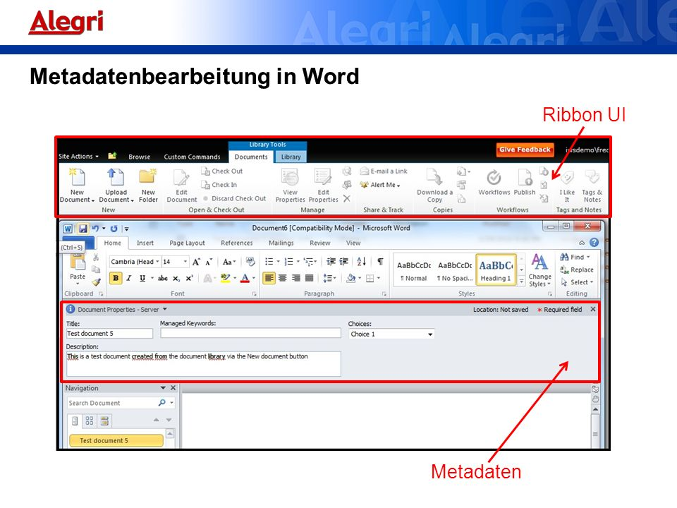 Metadatenbearbeitung in Word