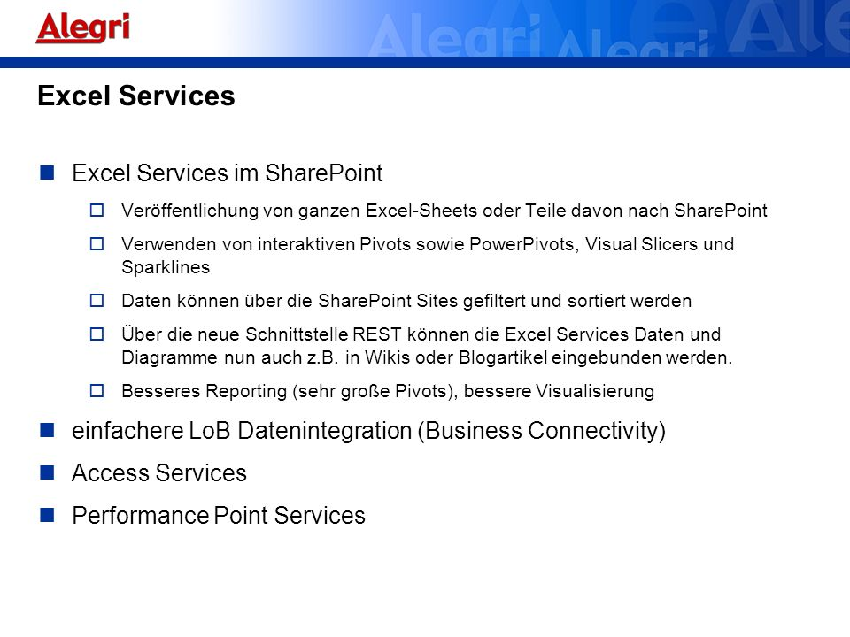 Excel Services Excel Services im SharePoint