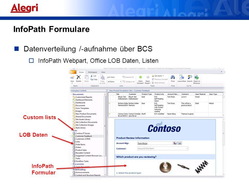 InfoPath Formulare Datenverteilung /-aufnahme über BCS