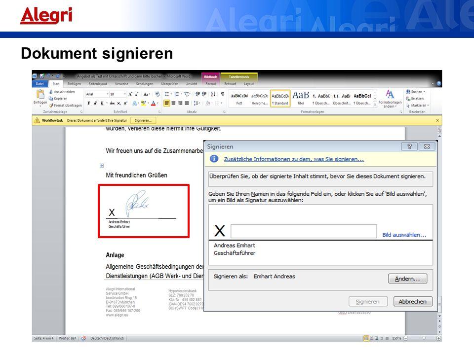 Dokument signieren