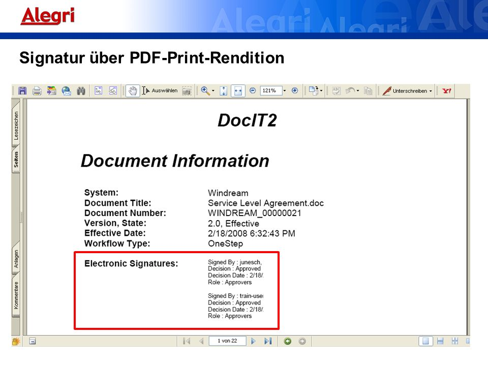 Signatur über PDF-Print-Rendition