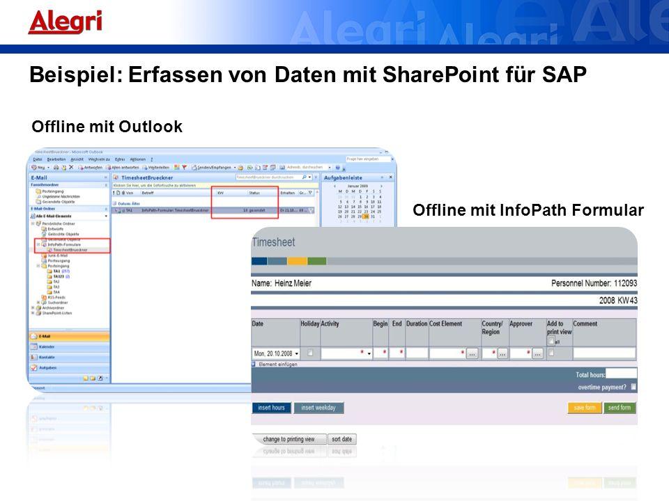 Beispiel: Erfassen von Daten mit SharePoint für SAP
