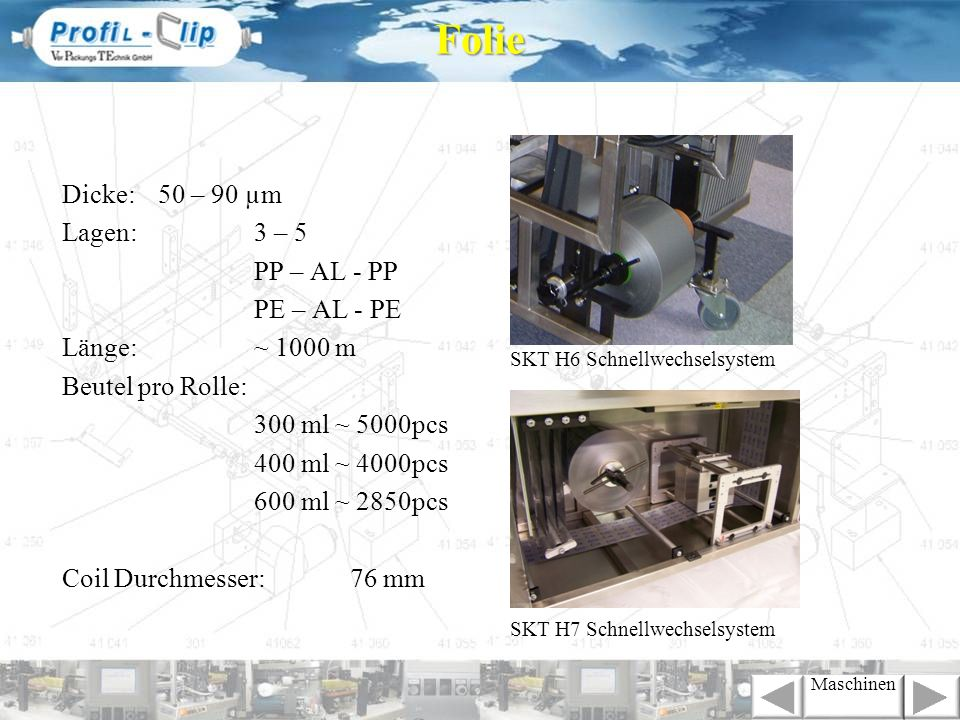 Folie Dicke: 50 – 90 µm Lagen: 3 – 5 PP – AL - PP PE – AL - PE