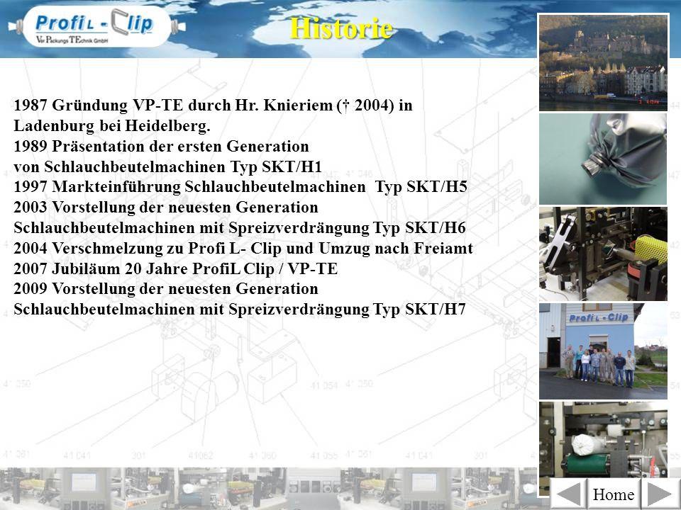 Historie 1987 Gründung VP-TE durch Hr. Knieriem († 2004) in Ladenburg bei Heidelberg.