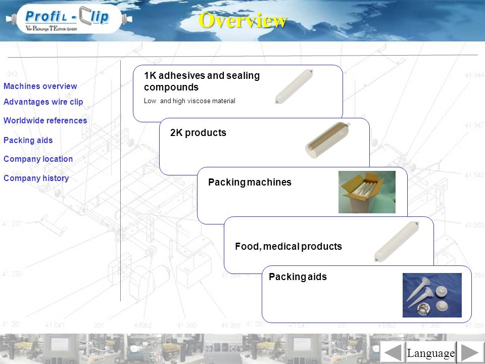 Overview Language 1K adhesives and sealing compounds 2K products