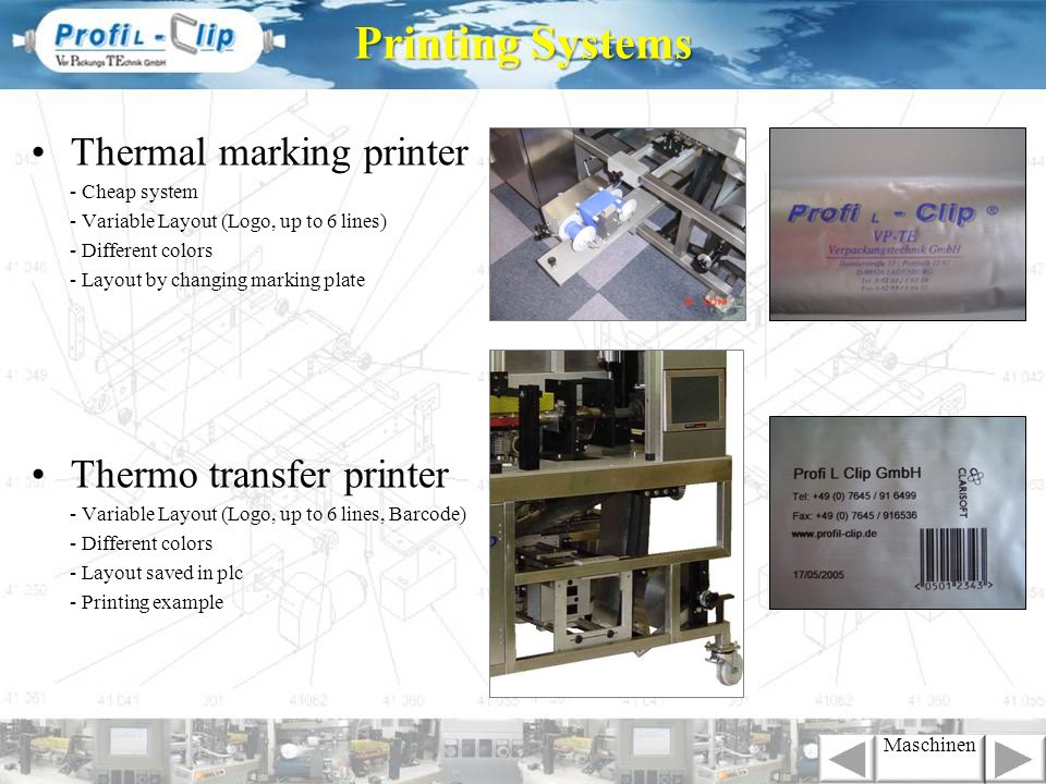 Printing Systems Thermal marking printer Thermo transfer printer