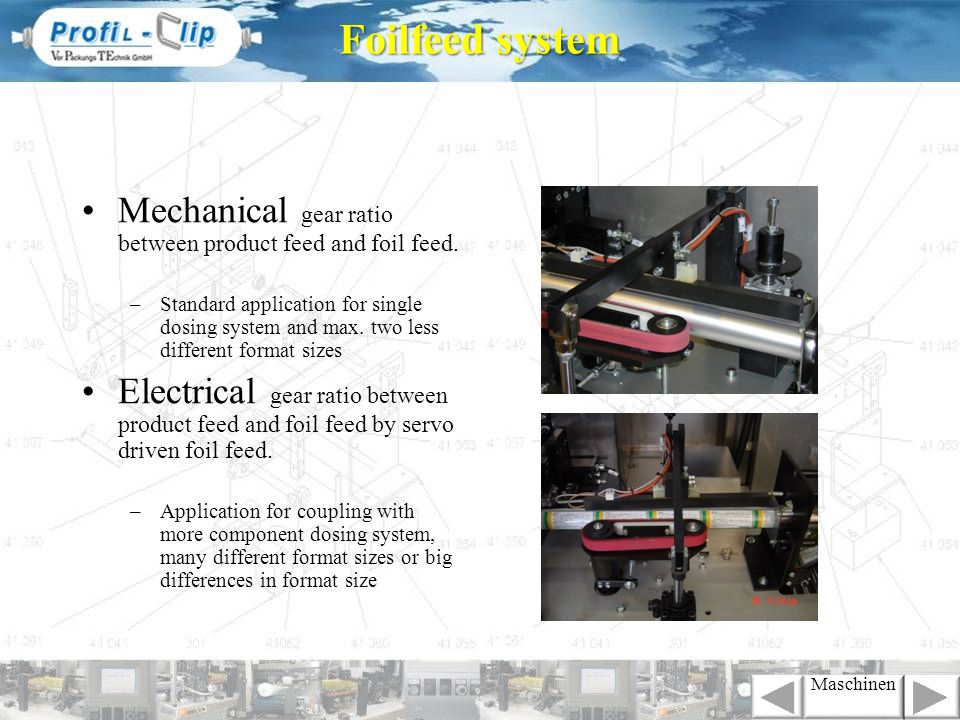 Foilfeed systemMechanical gear ratio between product feed and foil feed.