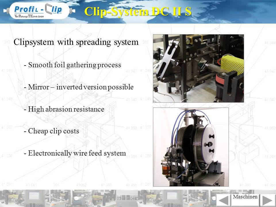 Clip-System DC II S Clipsystem with spreading system