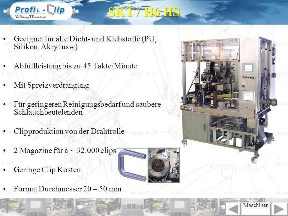 SKT / H6 HS Geeignet für alle Dicht- und Klebstoffe (PU, Silikon, Akryl usw) Abfüllleistung bis zu 45 Takte/Minute.