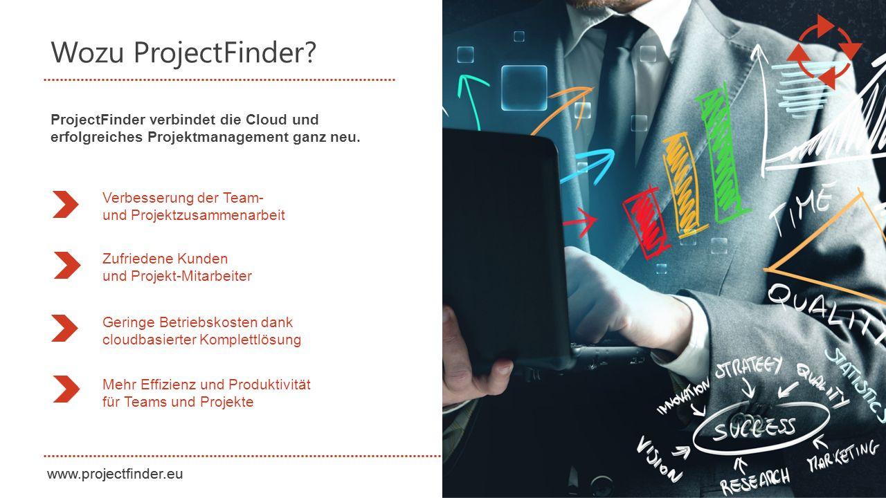 Wozu ProjectFinder ProjectFinder verbindet die Cloud und erfolgreiches Projektmanagement ganz neu.