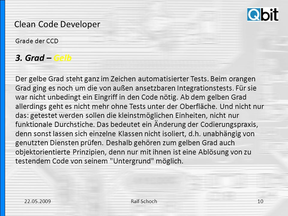 Clean Code Developer 3. Grad – Gelb