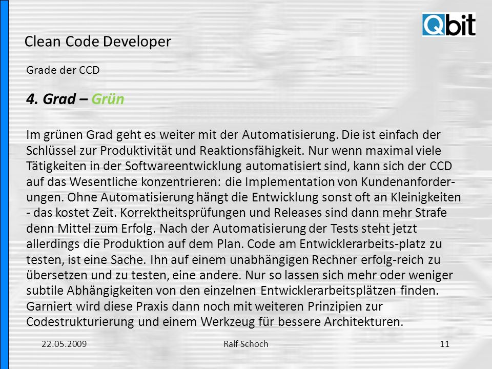 Clean Code Developer 4. Grad – Grün