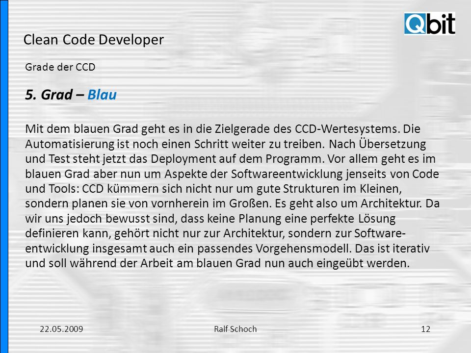 Clean Code Developer 5. Grad – Blau