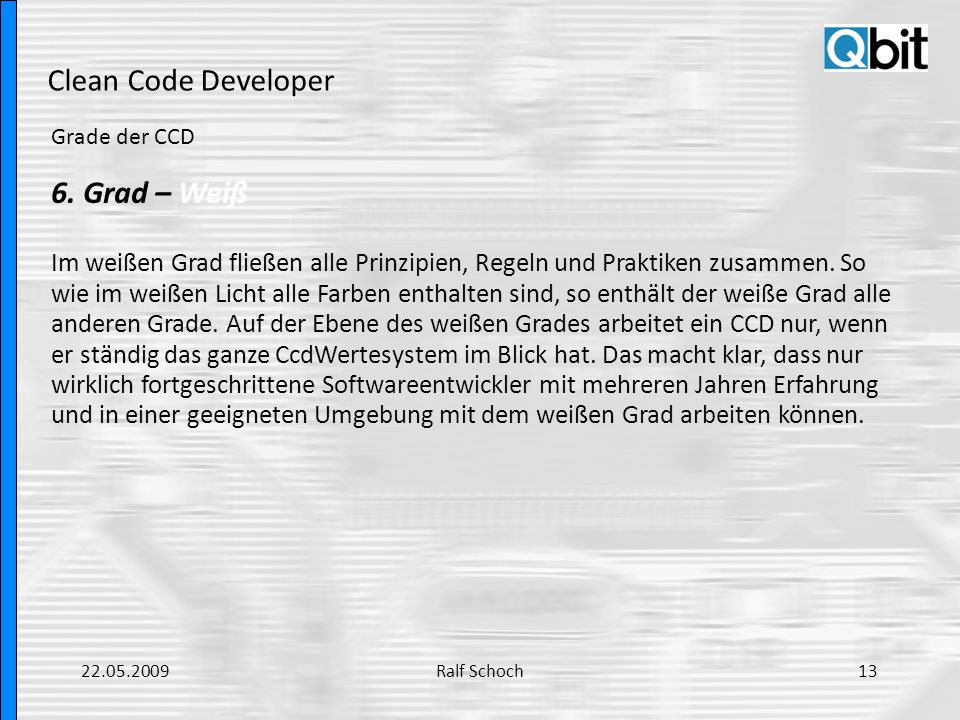 Clean Code Developer 6. Grad – Weiß