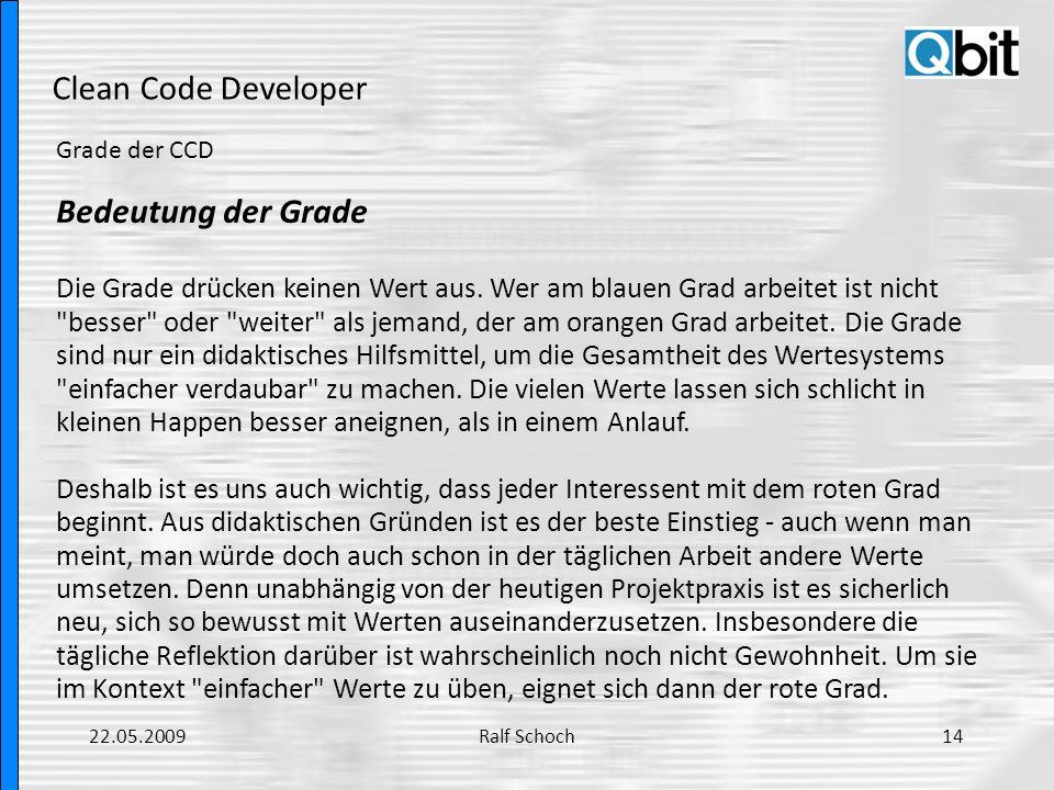 Clean Code Developer Bedeutung der Grade