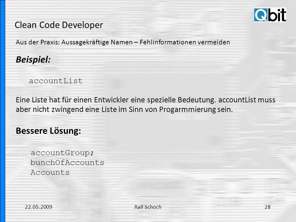 Clean Code Developer Beispiel: Bessere Lösung: accountList