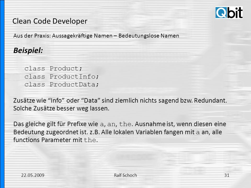 Clean Code Developer Beispiel: