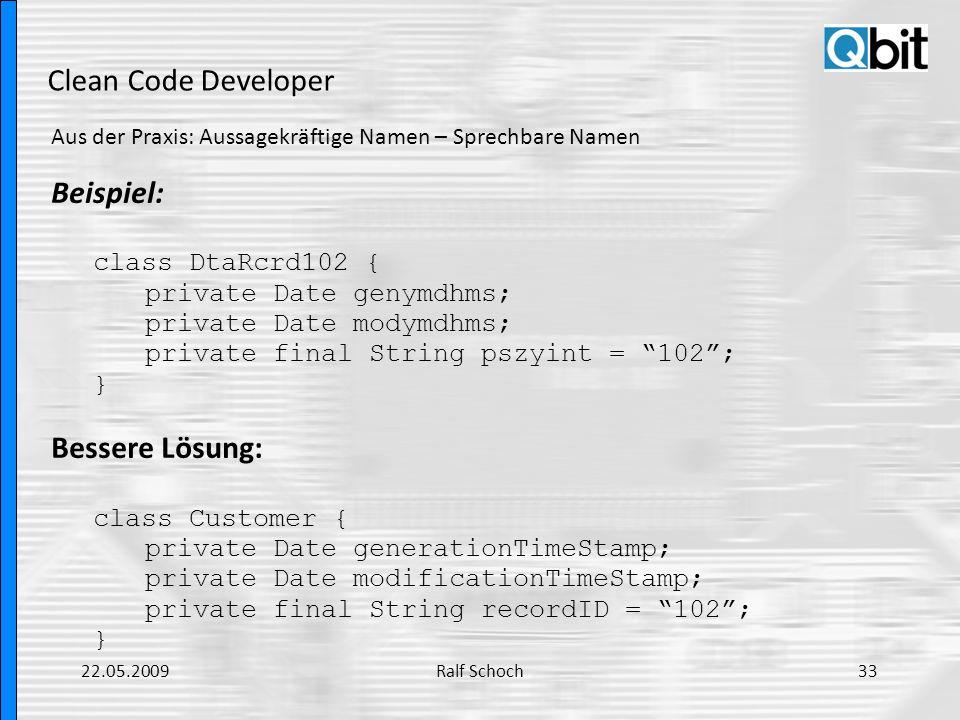 Clean Code Developer Beispiel: Bessere Lösung: