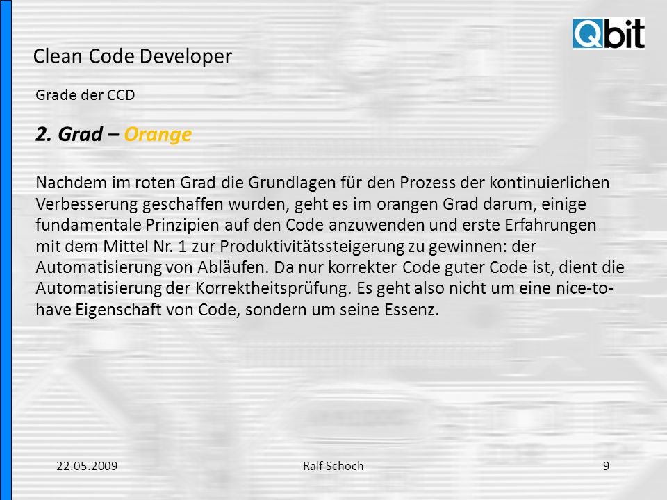 Clean Code Developer 2. Grad – Orange