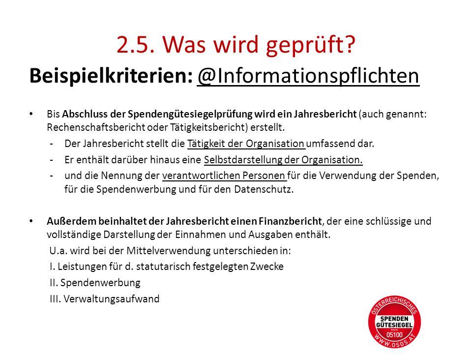 2.5. Was wird geprüft Beispielkriterien: @Informationspflichten