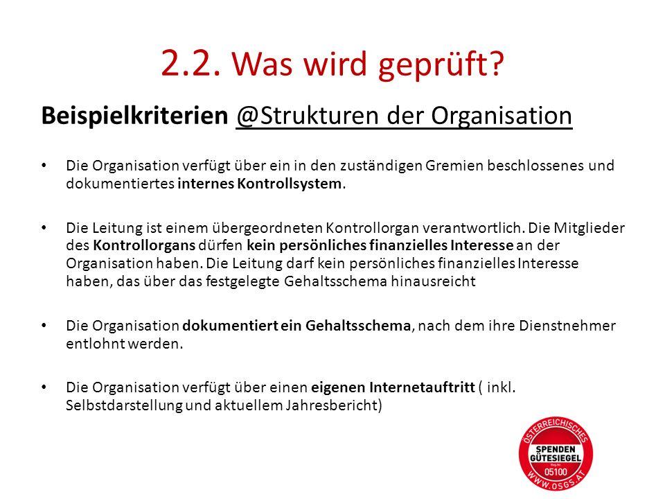 2.2. Was wird geprüft Beispielkriterien @Strukturen der Organisation